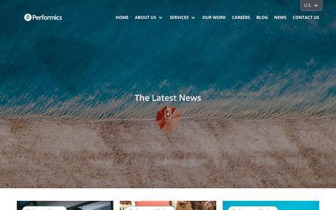 Screenshot of Press Page performics.com - The Latest Performics News   Performics - captured Nov. 26, 2019