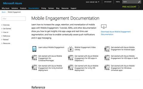 Screenshot of microsoft.com - Mobile Engagement Documentation | Microsoft Docs - captured Jan. 9, 2017