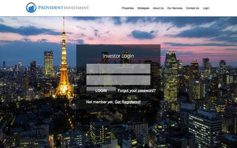 Screenshot of Home Page Login Page provident-investment.com - Provident Investment - captured Oct. 3, 2014