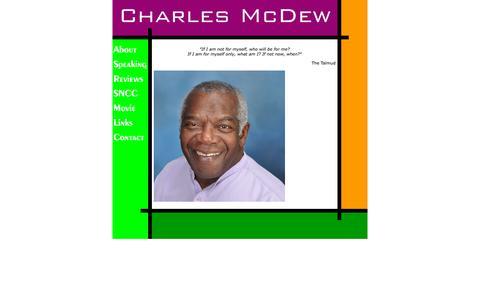 Screenshot of Home Page charlesmcdew.com - Charles McDew - captured Sept. 23, 2015
