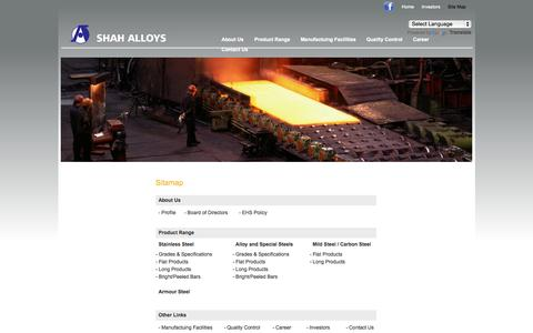 Screenshot of Site Map Page shahalloys.com - Shah Alloys Ltd. - Manufacture a complete range of stainless steel & carbon steel Products - captured Oct. 7, 2014