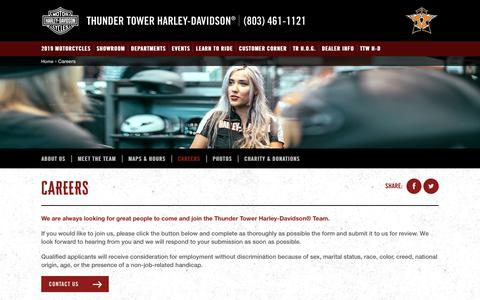 Screenshot of Jobs Page thundertowerharley.com - Careers | Thunder Tower Harley-Davidson® - captured Nov. 19, 2018