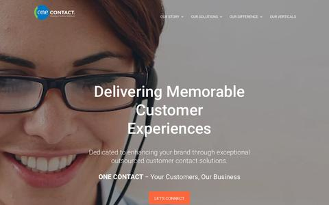 Screenshot of Home Page onecontactinc.com - One Contact | Your Customers, Our Business. It's in our DNA. - captured Oct. 24, 2018