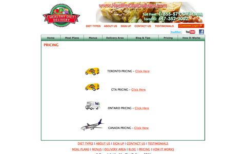 Screenshot of Pricing Page healthydietdelivery.com - Healthy Diet Delivery - Diet Delivery in Toronto - captured Sept. 29, 2014