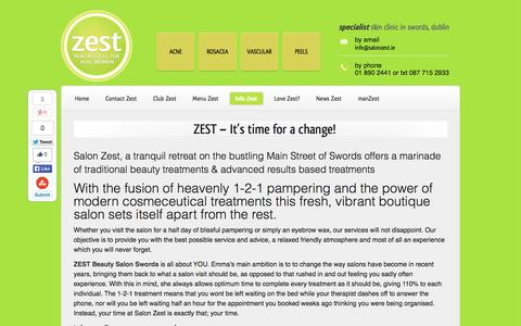 Screenshot of About Page salonzest.ie - ZEST Beauty Salon Swords Anti-Age Skin Clinic - captured Nov. 2, 2014