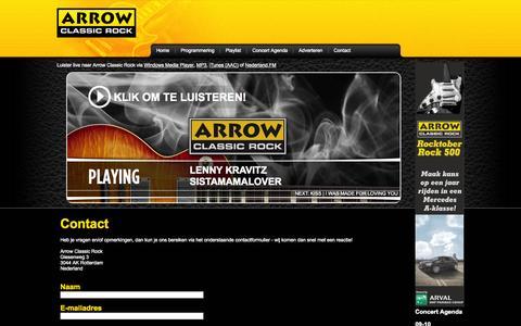 Screenshot of Contact Page arrow.nl - Arrow Classic Rock - Contact - captured Oct. 4, 2014