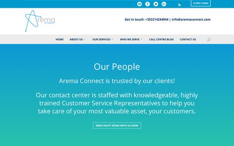 Screenshot of Team Page aremaconnect.com - Arema Connect - About Us, Contact Centre - captured July 30, 2018