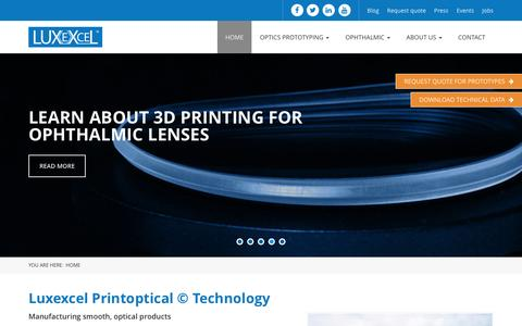 Screenshot of Home Page luxexcel.com - Luxexcel - Luxexcel | 3D Printed Optics - captured July 19, 2016