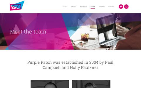 Screenshot of Team Page purplepatchgroup.co.uk - The London Event Company | Purple Patch | Meet the Team at Purple Patch | Creative Communications Agency Team | Purple Patch - captured July 24, 2018