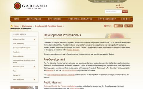 Screenshot of Developers Page garlandtx.gov - Garland Texas - Development Professionals - captured Sept. 28, 2018