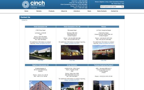 Screenshot of Contact Page Locations Page cinch.com - Contact Us - Cinch Connectors - captured Oct. 23, 2014