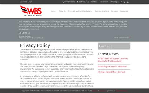 Screenshot of Privacy Page wbsfla.com - IT Services Fort Lauderdale | Managed Print Miami  | Wood Business Systems - captured Oct. 7, 2014