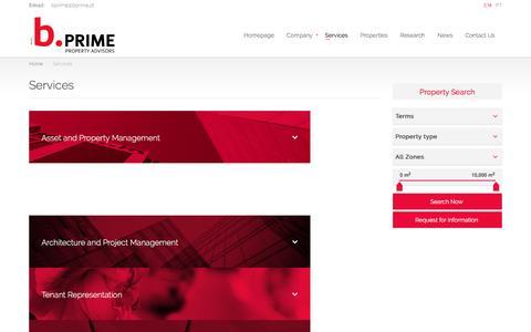Screenshot of Services Page bprime.pt - Services | B. Prime - captured July 12, 2016