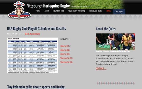 Screenshot of Press Page pittsburghharlequins.org - News - Pittsburgh Harlequins Rugby - captured Nov. 7, 2016