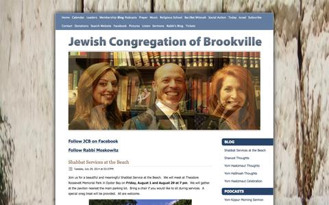 Screenshot of Blog jcbsynagogue.org - Jewish Congregation of Brookville - Blog - captured Oct. 6, 2014