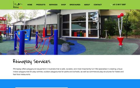 Screenshot of Services Page rhinoplay.com.au - Our Services – Planning | Design | Manufacturing | Delivery | Installation - captured Jan. 22, 2016