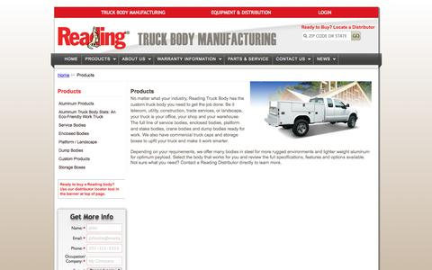 Screenshot of Products Page readingbody.com - Reading Truck Body Manufacturing   Products - captured Oct. 23, 2014