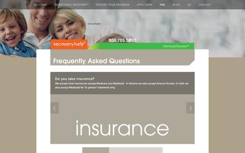 Screenshot of FAQ Page recoveryhelp.com - FAQ — Recovery Help - captured Sept. 30, 2014