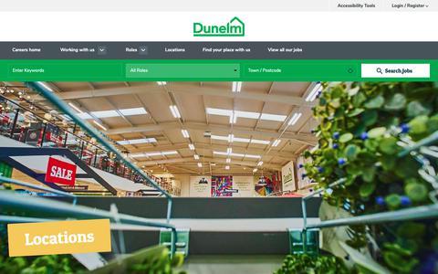 Screenshot of Locations Page dunelmcareers.com - Locations - Dunelm Careers - captured Oct. 21, 2018