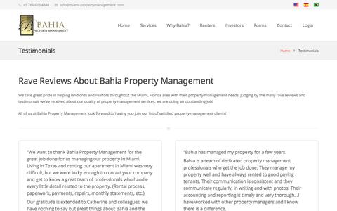 Screenshot of Testimonials Page miami-propertymanagement.com - Miami Property Management Companies Reviews - captured July 2, 2018