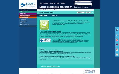 Screenshot of Press Page sportstructures.com - News - captured Feb. 15, 2016