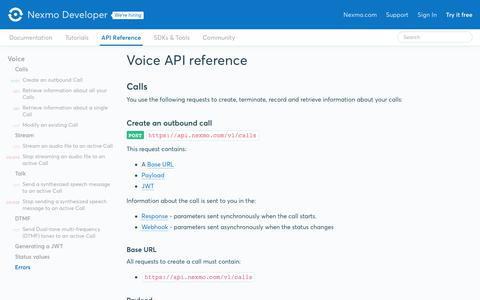 Nexmo Developer | Voice API > Voice API reference
