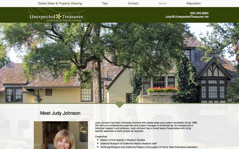 Screenshot of About Page unexpectedtreasures.net - Meet San Carlos business owner, Judy Johnson of Unexpected Treasures - captured Sept. 20, 2018