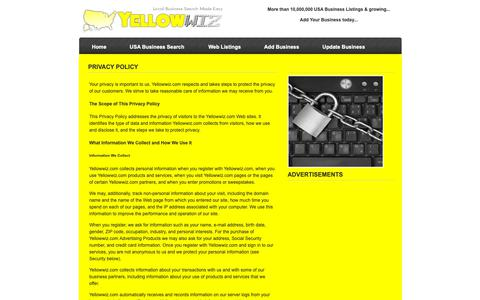 Screenshot of Privacy Page yellowwiz.com - Privacy Policy of Yellowwiz.com - captured Oct. 19, 2018