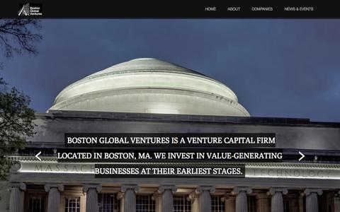 Screenshot of Home Page bostonglobalventures.com - Boston Global Ventures - captured Sept. 30, 2014
