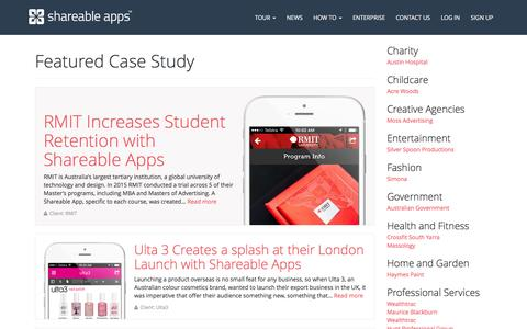 Screenshot of Case Studies Page shareableapps.com - Case Studies Archive - Shareable Apps - captured Feb. 22, 2016