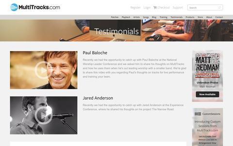 Screenshot of Testimonials Page multitracks.com - MultiTracks.com - captured Oct. 2, 2015