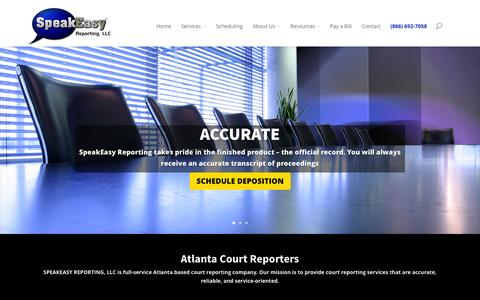 Screenshot of Home Page speakeasyreporting.com - SpeakEasy Reporting | Atlanta Depositions| Atlanta Court Reporting| Georgia Court Reporting and Deposition Services| Nationwide deposition scheduling| VideoConference Rooms| Legal Videography - captured Oct. 9, 2014