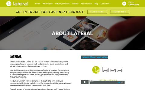 Screenshot of About Page lateral.com.au - About Us | Custom Software and App Development | Lateral Solutions - captured Sept. 27, 2018
