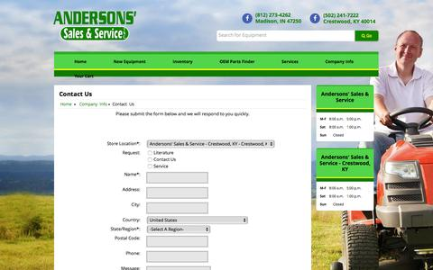 Screenshot of Contact Page andersonssales.com - Contact Us Andersons' Sales & Service - Crestwood, KY Crestwood, KY (502) 241-7222 - captured Feb. 6, 2016