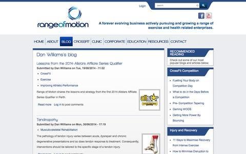 Screenshot of Blog rangeofmotion.net.au - Dan Williams's blog   Range Of Motion - captured Oct. 7, 2014