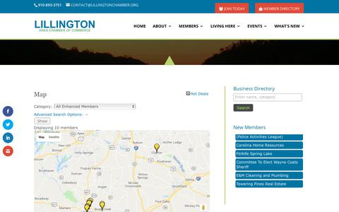 Screenshot of Maps & Directions Page lillingtonchamber.org - Map - Lillington Area Chamber of Commerce - captured Sept. 28, 2018