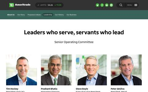Screenshot of Team Page amtd.com - TD Ameritrade  - About Us - Leadership - captured Feb. 12, 2019