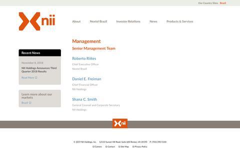 Screenshot of Team Page nii.com - Management | Nii Holdings | Multinational Telecommunications Company - captured Feb. 12, 2019