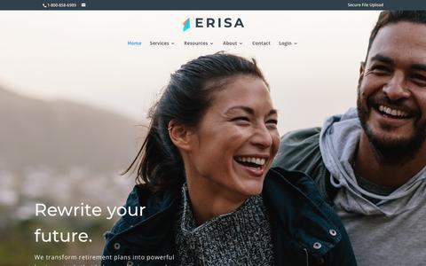 Screenshot of Home Page erisa.com - ERISA - Retirement Plan Design Experts - captured Sept. 26, 2018