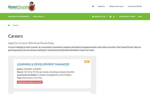Screenshot of Jobs Page greenthumb.co.uk - Careers - GreenThumb Lawn Treatment Service - captured Sept. 30, 2018