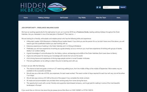 Screenshot of Jobs Page hiddenhebrides.co.uk - Jobs - captured July 19, 2018