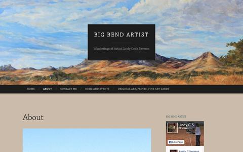 Screenshot of About Page bigbendartistblog.com - About | Big Bend Artist - captured March 8, 2016