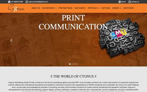 Screenshot of Home Page cygnusadvertising.in - Cygnus Advertising-Branding, Design, Printing Press, Web - captured Sept. 3, 2017