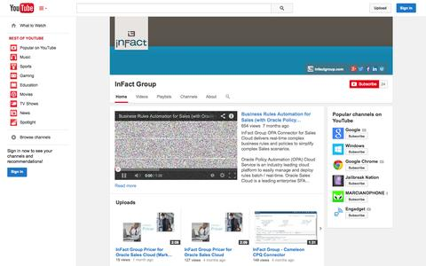 Screenshot of YouTube Page youtube.com - InFact Group  - YouTube - captured Oct. 26, 2014