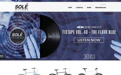 Screenshot of Home Page solebicycles.com - Solé Bicycles - Single Speed & Fixed Gear Bikes | $399 Fixies for Sale - captured Nov. 2, 2015