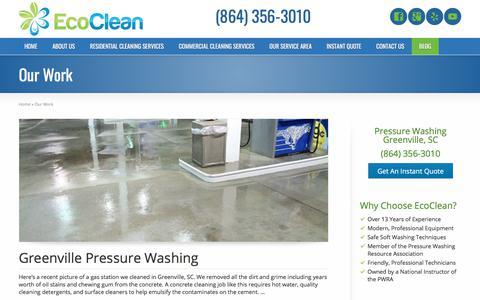 Screenshot of Blog cleangreenville.com - Our Work | Greenville, SC Pressure Washing - captured July 9, 2018