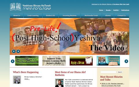 Screenshot of Home Page bircas.org - Yeshivas Bircas Hatorah - captured Nov. 22, 2016