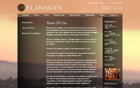 Screenshot of Terms Page flanaganwines.com - Flanagan Wines - Legal - Terms Of Use - captured Sept. 30, 2014