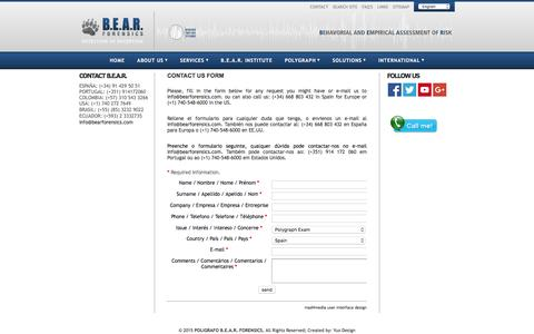 Screenshot of Contact Page bearforensics.com - CONTACT US FORM - captured Dec. 9, 2015