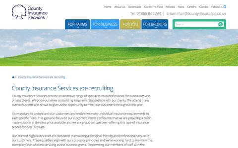 Screenshot of Jobs Page county-insurance.co.uk - County Insurance Services are recruiting - County Insurance Services Ltd - captured Nov. 12, 2016